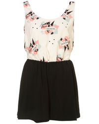 TOPSHOP Black Motel Print Playsuit