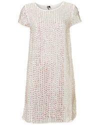 TOPSHOP White Shimmer Sequin Shift Dress
