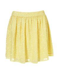 TOPSHOP Yellow Premium Sequin Skirt