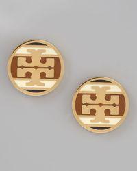 Tory Burch - Metallic Enamel Striped Logo Earrings Caramel - Lyst