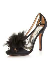 Badgley Mischka | Black Kiwi Feather Evening Sandals | Lyst