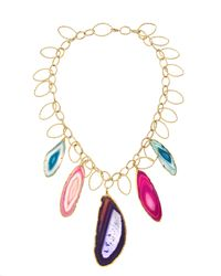 Devon Leigh | Multicolor Agate Slice Necklace | Lyst