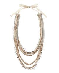 Elie Tahari - Black Chainprinted Chiffon Necklace Tan - Lyst