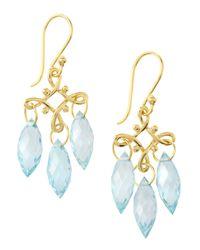Elizabeth Showers | Blue Marquise Topaz Chandelier Earrings | Lyst
