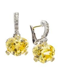 Judith Ripka - Metallic Fontaine Heart-Shape Cubic Zirconia Earrings - Lyst