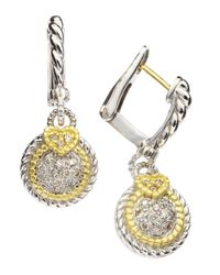 Judith Ripka Metallic Small Pave Circle Earrings