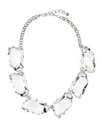 Kenneth Jay Lane Metallic Chunky Crystal Bib Necklace