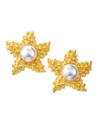 Kenneth Jay Lane | Metallic Pearlbead Starfish Clip Earrings | Lyst
