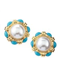 Kenneth Jay Lane - Blue Turquoise Pearl Bead Cabochon Clip Earrings - Lyst