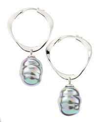 Majorica - Blue Baroque Pearl Hoop Earrings - Lyst