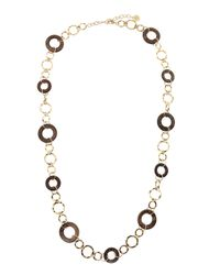 R.j. Graziano | Metallic Wood Golden Metal Chain Necklace | Lyst