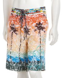 Robert Graham - Orange Sunset Palm Tree Printed Runabout Board Shorts for Men - Lyst