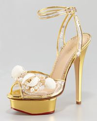 Charlotte Olympia | Metallic Seashell Platform Sandal | Lyst