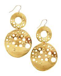 Devon Leigh - Metallic Doubledrop Circle Earrings - Lyst