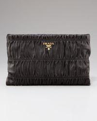 Prada | Black Napa Gaufre Clutch | Lyst