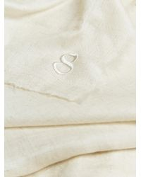 Thamanyah White Oversized Cashmere Scarf for men