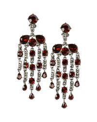 Givenchy | Red Siam and Black Glass Chandelier Earrings | Lyst