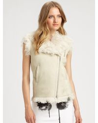 McQ - Natural Lambskin Leather and Shearling Vest - Lyst