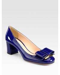 Prada - Blue Patent Leather Bow Pumps - Lyst