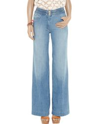 Sandro - Blue Pop High-rise Wide-leg Jeans - Lyst