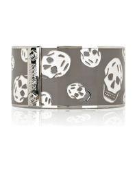 Alexander McQueen - Gray Large Enamel Skull Bracelet - Lyst