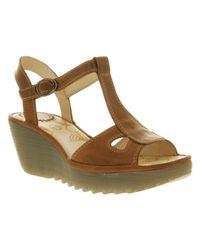 Fly London - Brown Yolia Wedge Sandal Smu Tan Leather - Lyst