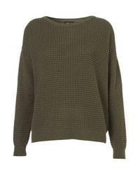 TOPSHOP Green Knitted Textured Stitch Jumper