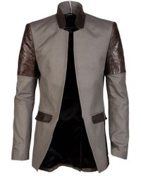 Unconditional Gray Leather Patch Jacket for men