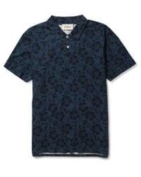 YMC | Blue Hibiscus Print Cotton Polo Shirt for Men | Lyst