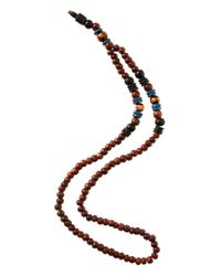 ASOS Brown Maui Wooden Beaded Necklace for men