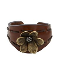 Fossil Brown Leather Flower Cuff Bracelet