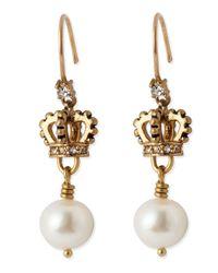 Juicy Couture | Metallic Crown Pearl Drop | Lyst