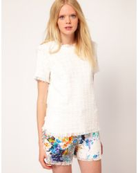 MSGM White Msgm Short Sleeve Top in Boucle