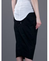 Rick Owens Black Pillar Cotton Skirt