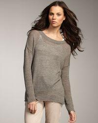VINCE | Green Sheer Linen Sweater | Lyst