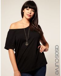ASOS Collection | Black Asos Curve Exclusive Off Shoulder T-shirt | Lyst