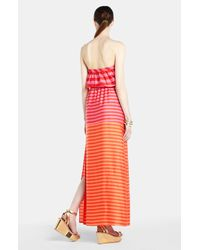 BCBGMAXAZRIA | Pink Stripe Strapless Maxi Dress | Lyst