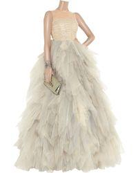 Oscar de la Renta Natural Tulle Sleeveless Gown