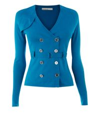 Karen Millen Blue Trenchcoat Cardigan