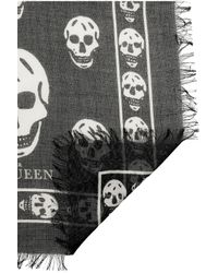 Alexander McQueen | Black Skullprint Modal and Cashmereblend Scarf | Lyst