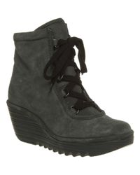 Fly London | Gray Ycid Wedge Ankle Boot Smu Grey Suede | Lyst