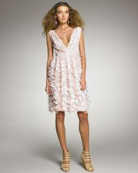 Oscar de la Renta | Pink Petal-applique Cocktail Dress | Lyst