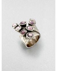 Saint Laurent - Metallic Silvertone Arty Dots Ringmottled - Lyst