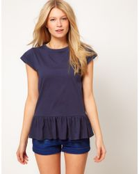 ASOS Collection Blue Asos Tshirt with Peplum