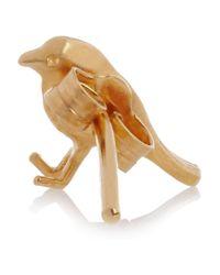 Alex Monroe Metallic 22 Karat Gold Plated Bird Earrings