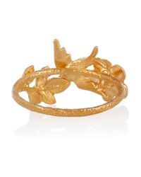 Alex Monroe | Metallic 22 Karat Gold Plated Swallow and Leaf Ring | Lyst