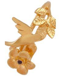Alex Monroe Metallic 22 Karat Gold Plated Swallow and Leaf Ring