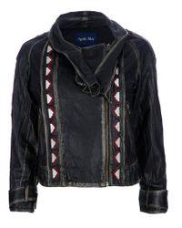 April, May Black Ethnic Inserts Leather Jacket