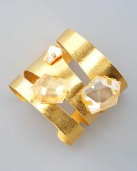 Herve Van Der Straeten | Metallic Rock Crystal Gold Cuff | Lyst