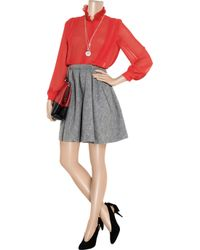 Lover - Red Ruffled-collar Crepe Blouse - Lyst